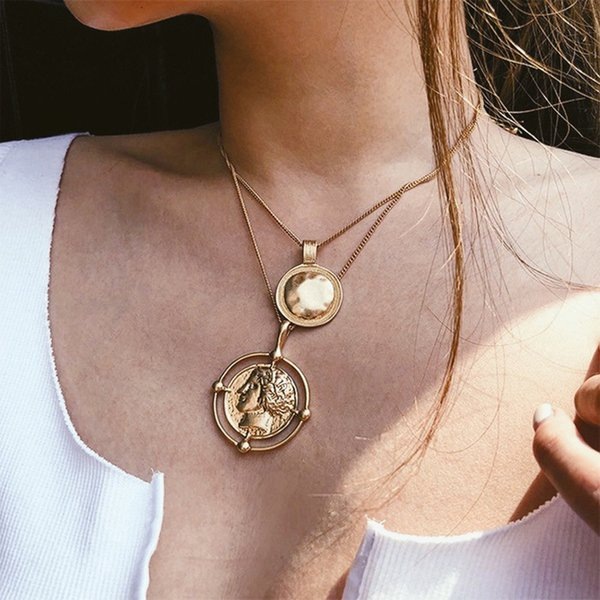 New Fancy Design Pendant Necklace Bohemian Female Double-layer Necklace Retro Gold Carved Coin Jewelry New 2019