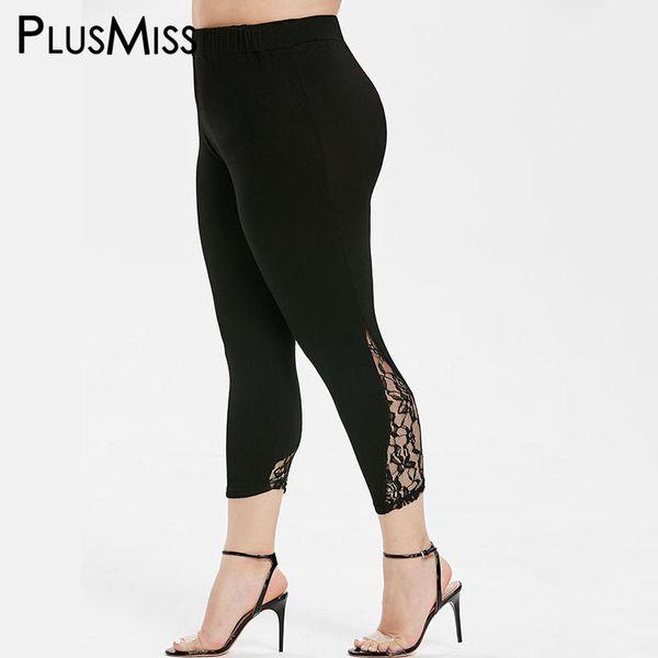 PlusMiss Plus Size XXXXXL Skinny Black Lace Capri Leggings Women Clothes XXXXL XXXL High Waist Legins Big Size Jeggings Leggins