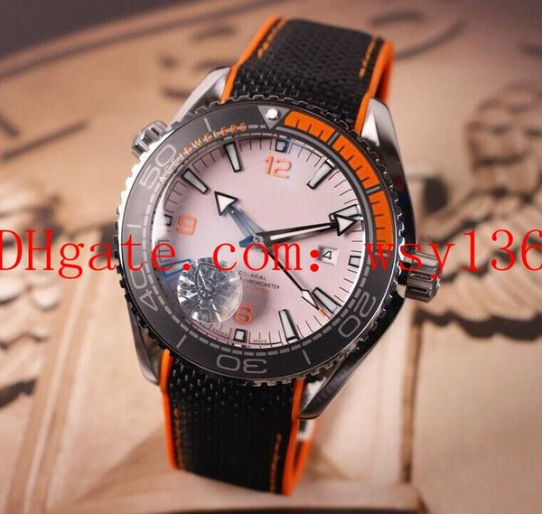 New Planet Ocean 600m Co Axial 215.92.44.21.99.001 Black Orange Automatic machinery Mens Watch Gray Dial Men's Sport Wrist Watches