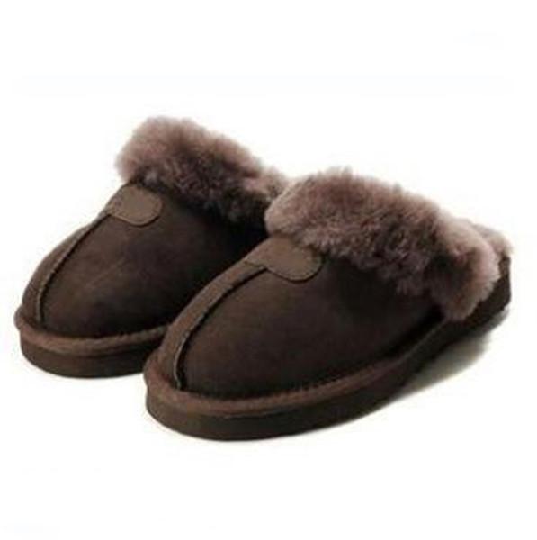 WGG hommes et des femmes des pantoufles en noir et blanc brun hiver rose design de luxe dames de marque de fourrure à l'intérieur chaud pantoufles Eur 36-41