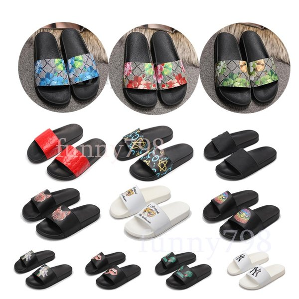 best selling 2019 new Luxury ACE Bee Blooms Strawberry Tiger Peki Fashion Arbitrary collocation Designer shoes men women Sandals shoes