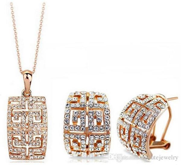 Plaqué or 18k ensemble de bijoux Boucles d'oreilles collier en cristal autrichien fait avec SWAOVSKI Elements Ensembles de bijoux de mariage bijoux de mode