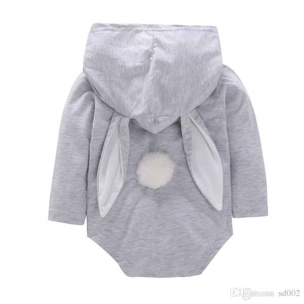 Easter Jumpsuits Long Sleeves Baby Rabbit Romper Hooded Bunny Ear Creeping Suit Toddler Rompers Big Pocket Plush Tail 20fyb1