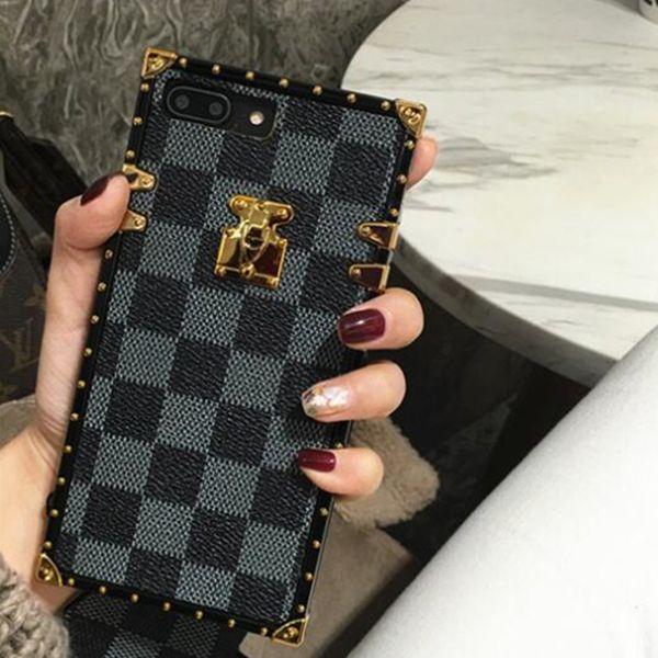 Cas de téléphone de luxe de concepteur de couverture de mode pour l'iPhone X XR XS Max 8 7 6 6 s plus S9 S10 Note9 en cuir coquille douce peau coque Hull String GSZ508