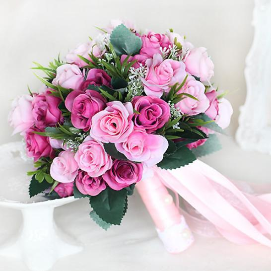 2019 Beautiful White Bridal Bridesmaid Flower Wedding Bouquet Artificial Flower Rose Bouquet Red Bridal Bouquets New