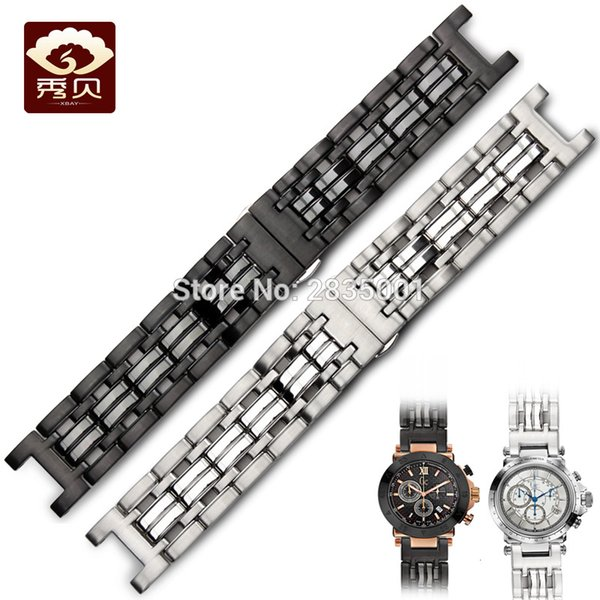 316L Stainless Steel Watchband Concave Mouth 22*13mm Silver Black Bracelets with Push-button Clasp For GC Watches Free Shipping