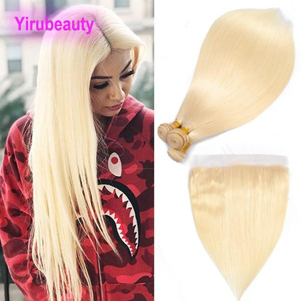 Brasilianische Jungfrau-Haar-Verlängerungen 613 # blonde seidige gerade Menschenhaar-Bündel mit 13X4 schnüren sich frontales gerades Haar 4pieces / lot