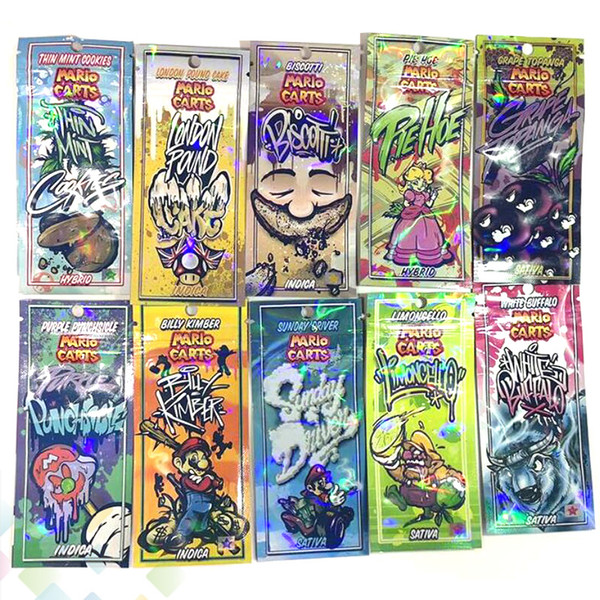 Hologram Mario Carts Package 20 Flavors Holographic Ziplock Bags Packaging Bag for Exotic Pack Vape AC1003 KINGPEN Atomizer Cartridges DHL