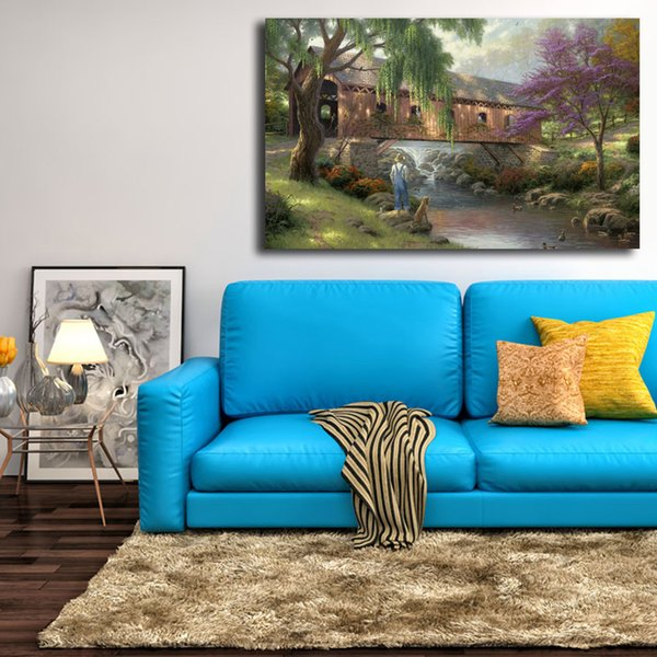 The Old Fishin Hole By Thomas Kinkade Poster Canvas Painting Oil Framed Wall Art Print Pictures For Bedroom Modern Home Decoracion Framework