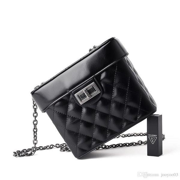 Harbor Style Texture Rhombic Chain Small Bag Female New Bucket Bag Tide Senior Sense Shoulder Messenger Bag Jooyoo