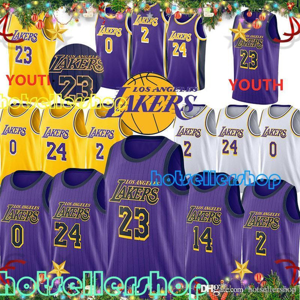 separation shoes 986e5 7b24c 2019 Lakers City Edition Lakers Basketball Jersey Los Angeles LeBron 23  James Kobe 24 Bryant Brandon 14 Ingram Kyle 0 Kuzma Lonzo 2 Ball From ...