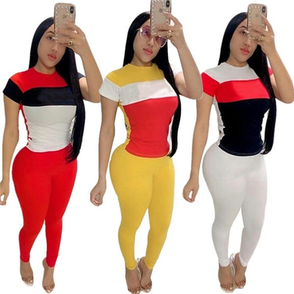 Women designer brand summer 2 piece set fashion stylish tracksuit running pullover crew neck short sleeve t-shirt bodycon leggings pants 603