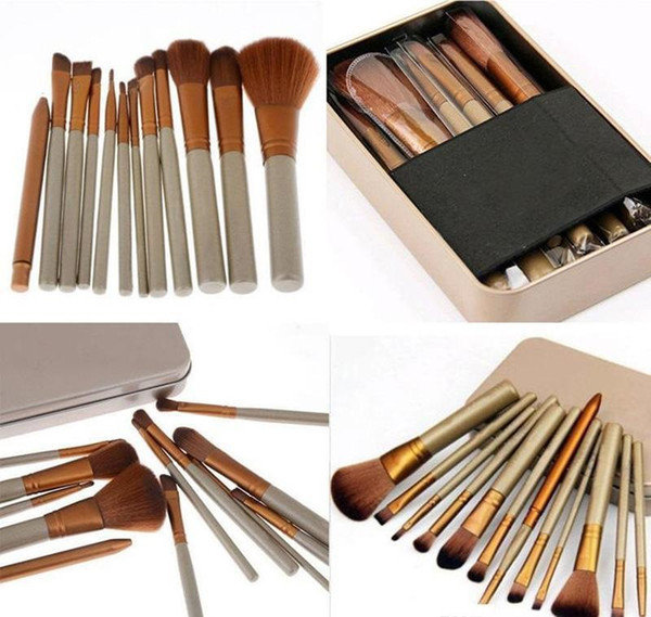 Profe ional 12 pc makeup bru he co metic facial make up bru h tool makeup bru he et kit with retail box hipping