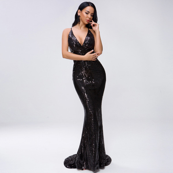 A new fashionable celebrity halter dress sexy deep V-neck open-back criss- cross striped sequins party evening dress wholesale