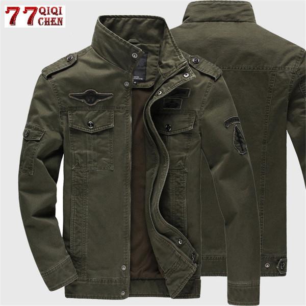 2019 Jacket Men Jeans Casual Cotton Coat Plus Size 6XL Army Bomber Tactical Flight Jacket Autumn Winter Cargo Jackets