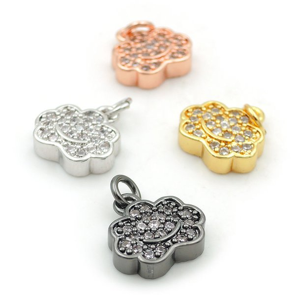 10*10*3mm Micro Pave Clear CZ Cloud Charms Fit For Woman Making Earrings Or Necklaces Jewelry