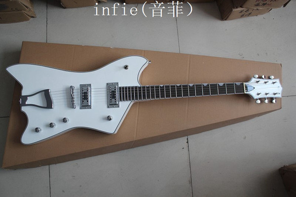 Top Quality two pieces of pick-up jazz 6 strings electric guitar white large rocker guitar
