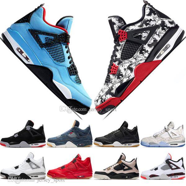 Hot 2019 New Bred 4 4s What The Cactus Jack Laser Wings Mens Basketball Shoes Denim Blue Pale Citron Men Sports Designer Sneakers Eur 36-47