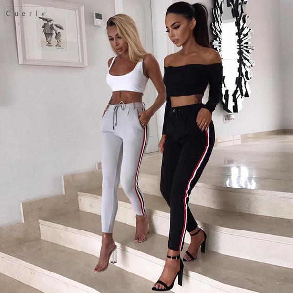 Yan Kadınlar pantolon Tozluklar Pantolon Bayan Vintage Elasitic Polyester Bel Ayak bileği uzunluğu Çizgili Sonbahar Moda Casual Pantolon Nakliye Bırak