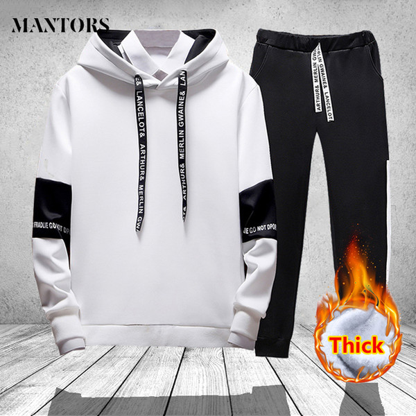 Winter Casual Tracksuit Men Hoodies Set with Pant Two Pieces Printed Thick Hooded Hoodies Jacket + Pants Track Suit Mens Clothes
