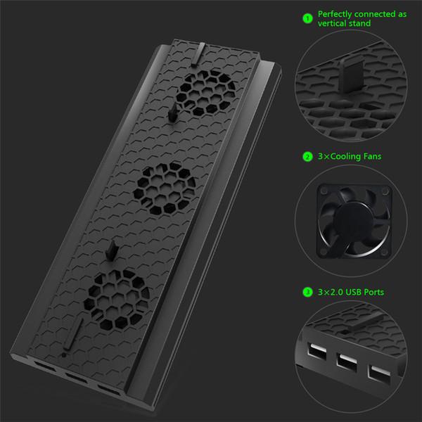 Soporte vertical de la venta caliente con el ventilador de enfriamiento para Xbox one X, refrigerador del soporte de la consola con 3 puertos de USB para el envío libre de la consola de Xbox One X