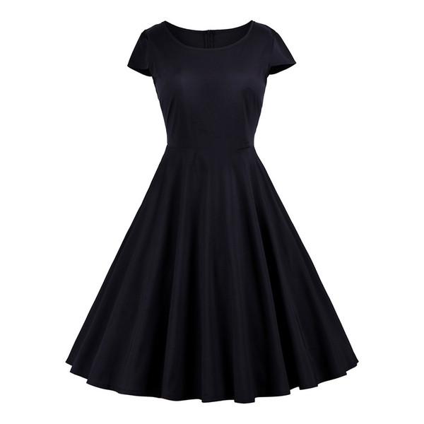 Artı Boyutu Yaz Elbise 2019 Vintage Katı Kısa Kollu Fermuarlar Elbiseler Bohemian O-Boyun Diz Boyu Elbise Kadın Giyim vestidos