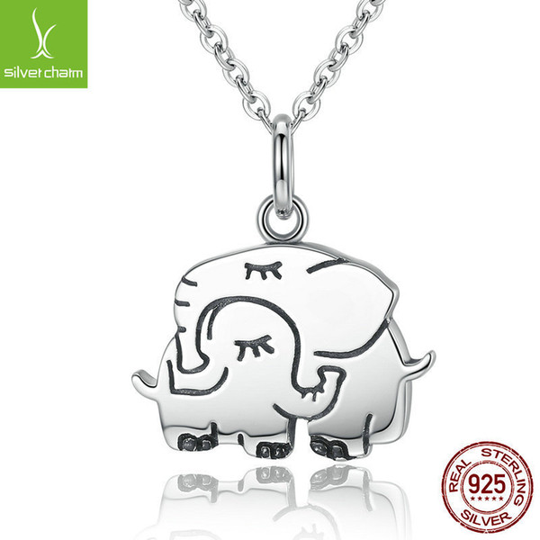 Trendy Genuine 925 Sterling Silver Cute Elephant Hug Pendant Necklaces for Women Jewelry S925 Mother's Day Gift Scn065