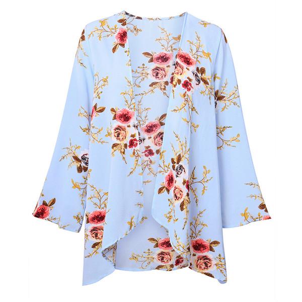 Floral Outwear Cardigan Cover Up Tops En Mousseline De Soie Femelle Manteau À Manches Longues Beachwear Automne Dames Lâche Été Élégant Mince