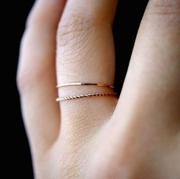 Women Band Midi Ring Urban Gold stack Plain Cute Above Knuckle Nail Rings Christmas Gift free shipping 2018