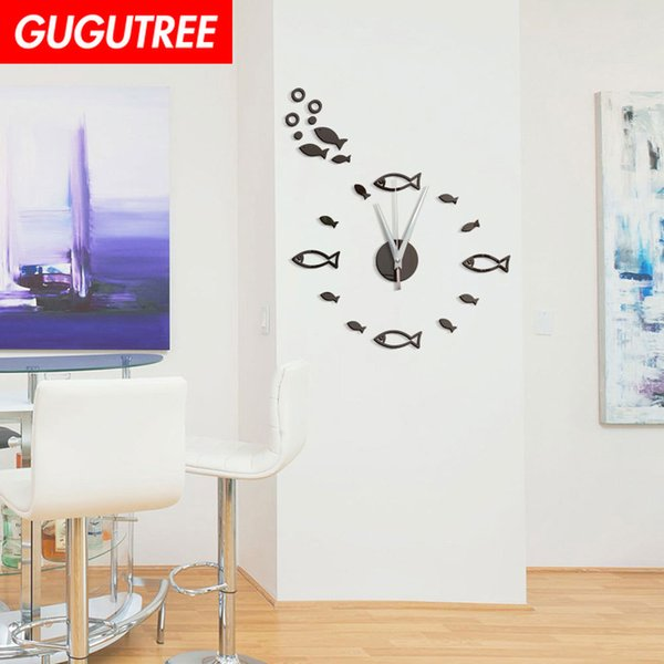 Decorate Home 3D number mirror clock art wall sticker decoration Decals mural painting Removable Decor Wallpaper G-55