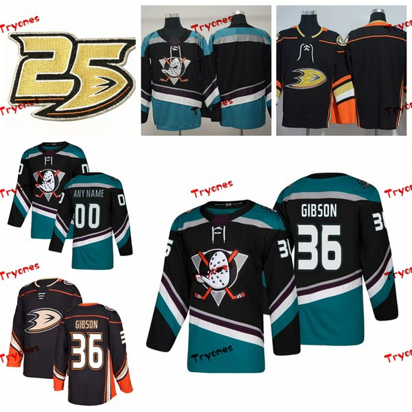 2019 Anaheim Ducks John Gibson Stitched Jerseys Customize Alternate Black Shirts #36 John Gibson Hockey Jerseys 25th Patch S-XXXL