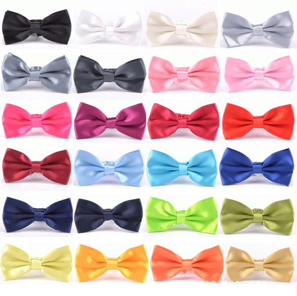 best selling PreTied Mens Dickie Bow Tie Ties BowTie Pre Tied Adjustable Wedding Prom Solid Colors Plain Silk 35 colors