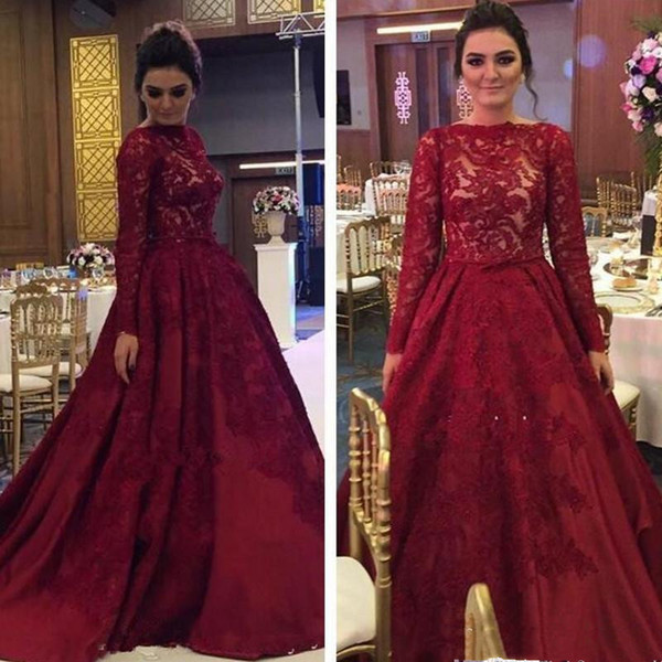 Dark red prom dresses 2019 new ball gown prom dress long sleeves lace appliques quinceanera dresses