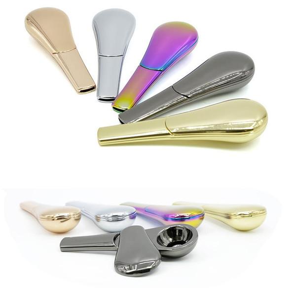 9 colores de metal cuchara pipa portable creativa de la hierba de tabaco de pipa de metal accesorios de fumar pipa de fumar con la caja FA3124