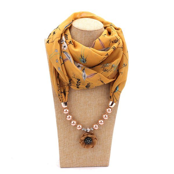 New summer floral women's scarf long shawl headscarf pendant scarves beads scarf women free shipping