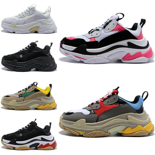 Balenciaga triple s 2019 Moda Paris 17FW Triple S Casual Dad Shoes Nuevo lujo para hombres y mujeres Beige Black Sports Tennis Zapatillas de deporte crecientes