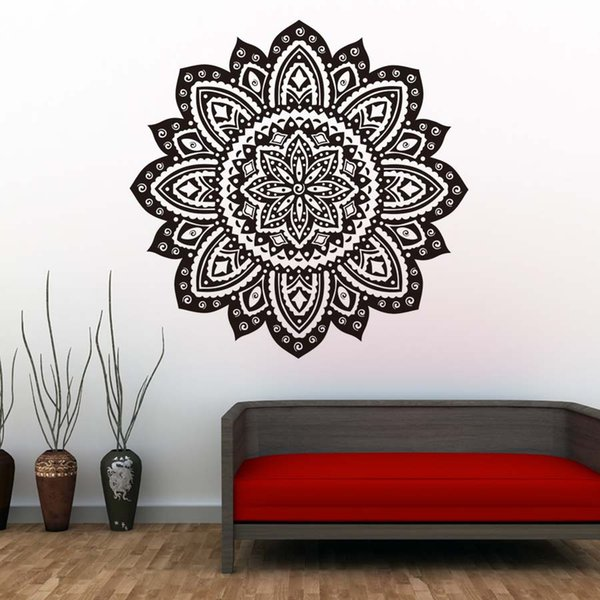 Mandala Vinyl Wall Stickers Bedroom Home Decor Indian Lotus Flowers Pattern  Living Room Decals Removable Art Wallpaper Home Wall Art Stickers Home ...