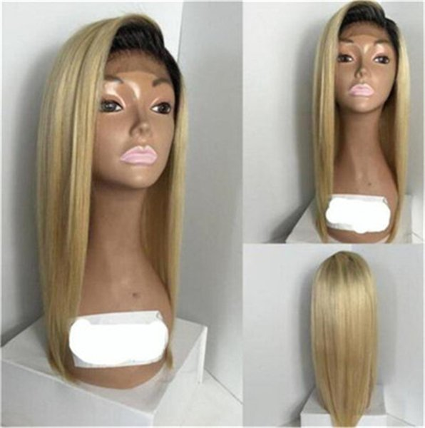 1b/613 Ombre Human Hair Wig Honey Blonde Lace Front Short Cut Bob Wigs Brazilian Straight Glueless Full Wig