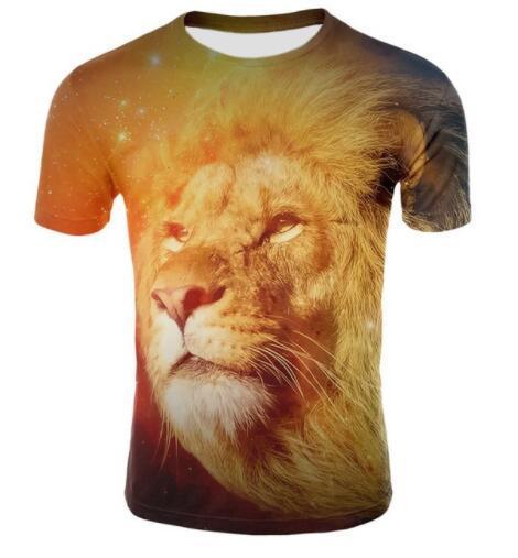 Sondirane Creative Print Animal Lion Wolf 3D Funny T-shirt Cartoon Cute Cat Short Sleeve T Shirts Summer Men TeesUnisex Tops 5XL