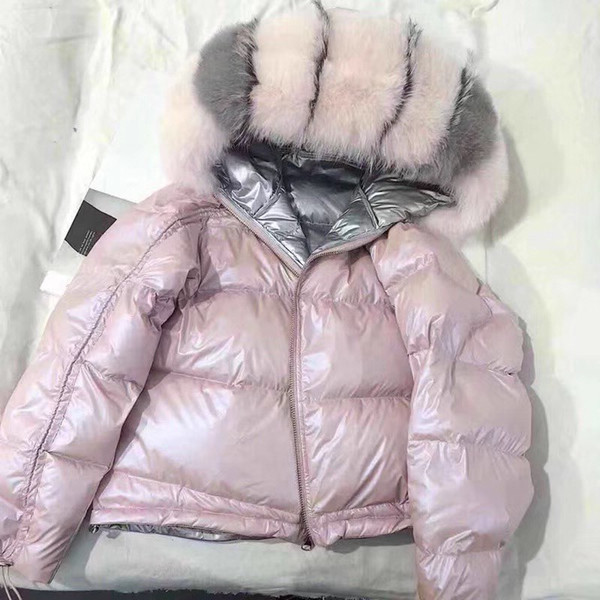 2018 Winter Jacket Women Real Fox Fur Hooded Down Coat Thick Warm Down Parka White Duck Jacket Loose Short Real Fur Coat