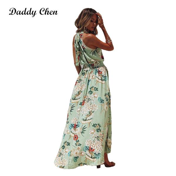 Daddy Chen Long Summer Bohemian Dress Floral Maxi Beach Dresses for Women Floor Length White Dress Halter Neck Sleeveless Elegan