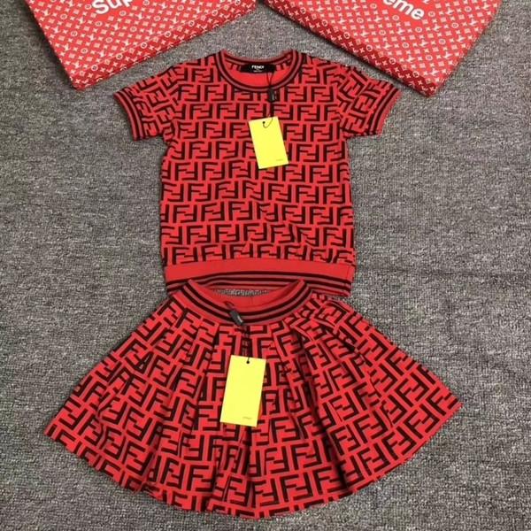 Детская платья одежды платье девушки Вязание вокруг шеи рукава Голова свитер Половина шага юбка корейских детей Детская одежда Set 092004