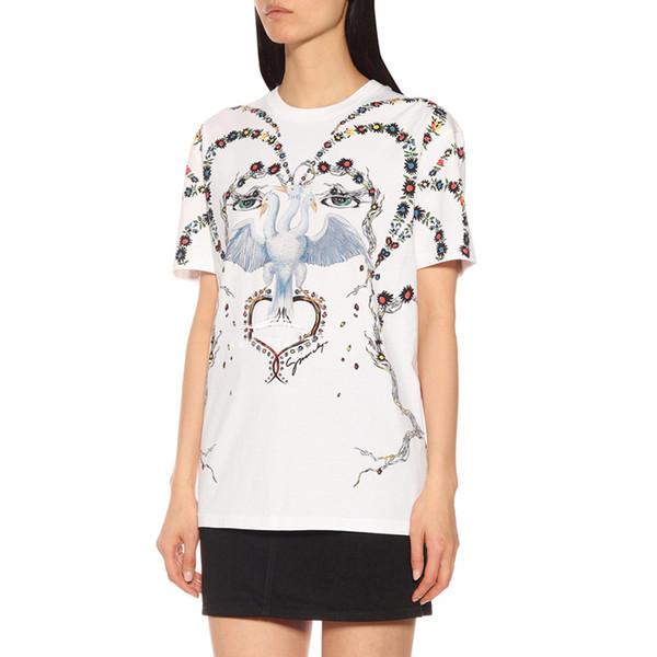19SS Francia Europa camiseta de moda de tres cabezas de impresión de aves hombres mujeres camiseta de dibujos animados de manga corta calle Skateboard Summer Tee HFYMTX584