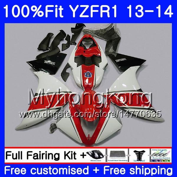 Corpo de injeção para YAMA YZF 1000 YZF R 1 YZFR1 2013 2014 vermelho brilhante 242HM.1 YZF-1000 YZF R1 YZF1000 branco YZF-R1 13 14 Kit Carenagem Completa