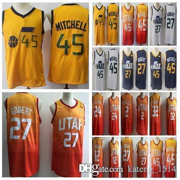 purchase cheap 7b603 ed768 2018 Utah Jazz 45 Donovan Mitchell Jerseys 27 Rudy Gobert Jersey 3 Ricky  Rubio 2 Joe Ingles 2018 Men Embroidery Logos Basketball 100% Stitched From  ...