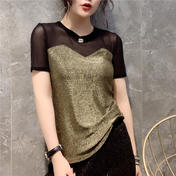 summer wear gauze T-shirt han edition joining together into the new rivet color joker of cultivate one's morality dress