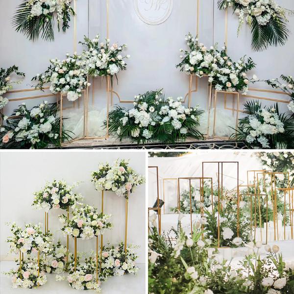 DIY Çiçek Düğün Centerpieces sahne arka planında koridor geçit Kat Vazolar Çiçekler Vazo Metal Ayağı Yol Kurşun fotoğraf prop metal Raf vazolar