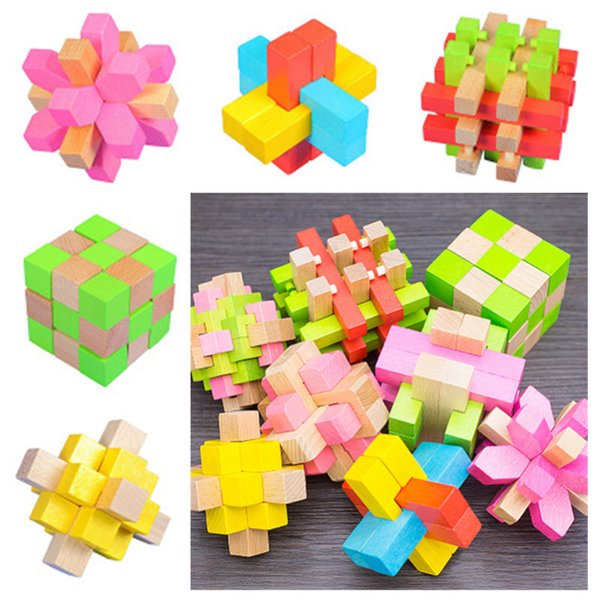 top popular 3D IQ Wooden Brain Puzzle toys Bamboo Interlocking Puzzles Game hole Ming lock Luban lock puzzle disassembly 3D lock 8 styles 2021