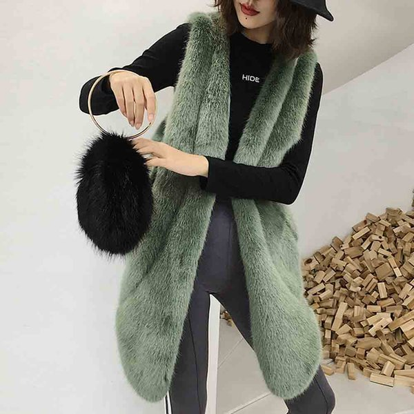 txjrh stylish mid long hairy shaggy faux fur irregular hi-lo hem vest slim waist sleeveless coat outerwear 4 colors