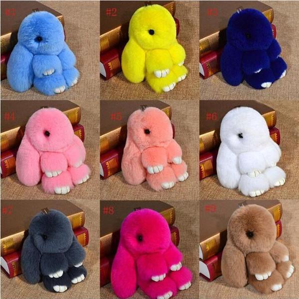 Милый кролик игрушка 14 Цветов Милый Кролик Брелки 14 см Пушистый Помпон Мех Кролика Брелок Llaveros Mujer Автомобильная Сумка Подвески 50 шт.